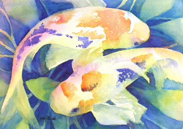 Two koi fish entertwined in pond painted in watercolor by artist Sandy Allnock