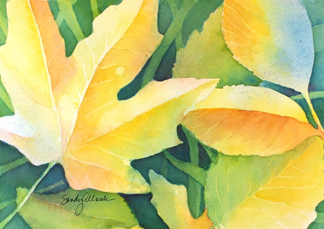 Leaf study in yellows and greens, watercolor painting of leaves by artist Sandy Allnock
