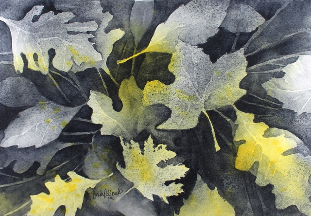 Leaf study in muted tones by artist Sandy Allnock