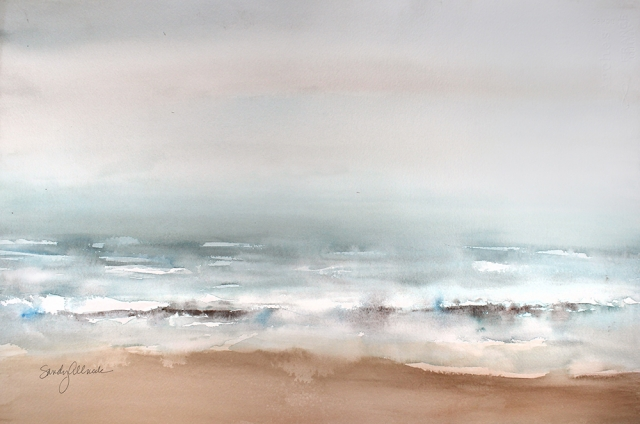 Watercolor painting of Pacific ocean in the rain and mist by artist Sandy Allnock