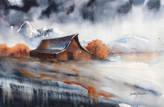Watercolor painting of barn in Jackson Hole Wyoming by artist Sandy Allnock