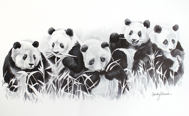 Watercolor group of happy pandas eating grass by artist Sandy Allnock