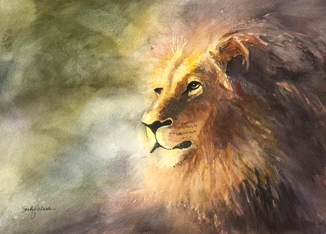 Watercolor painting of a lion looking into the distance by artist Sandy Allnock