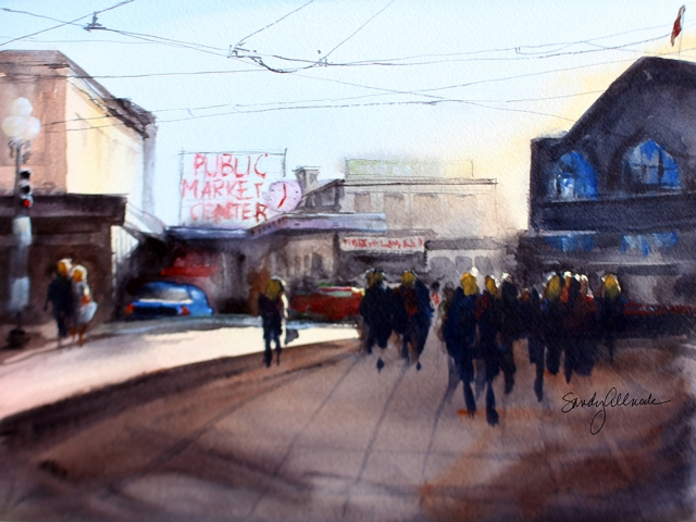 Watercolor painting of Pikes Place Market area with strong lighting by artist Sandy Allnock
