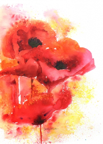 Brusho watercolor painting of poppies by artist Sandy Allnock
