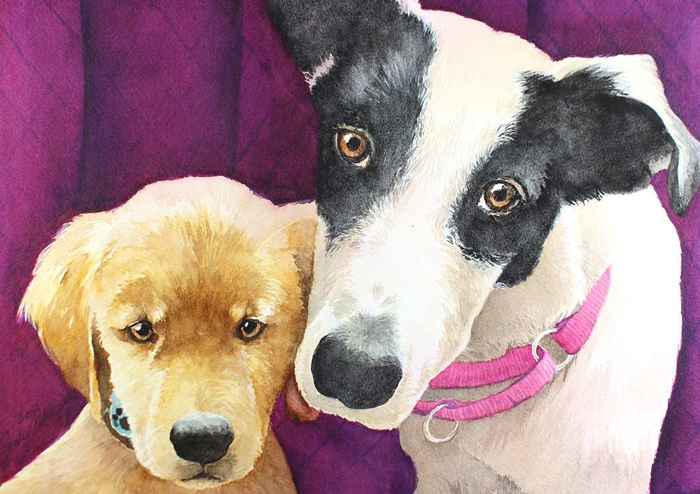 Two puppies in a portrait by artist Sandy Allnock