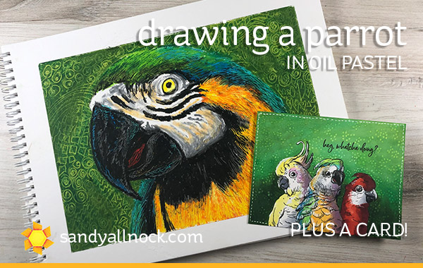 Drawing a Parrot (Oil Pastel) + Pretty Bird card