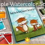 Simple Watercolor scene – Friendly Foxes