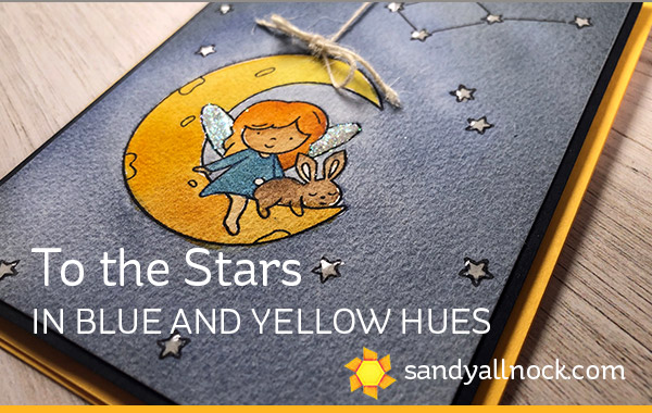 To the Stars (watercolor in blue and yellow hues )