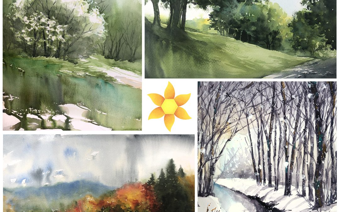 Watercolor Trees class at Daniel Smith: done!