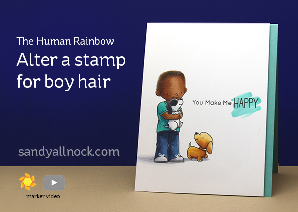 The Human Rainbow: Alter a stamp for African boy hair
