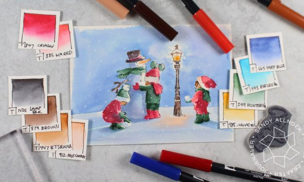 Stamped Watercolor Christmas Card + Marker Conversion Chart