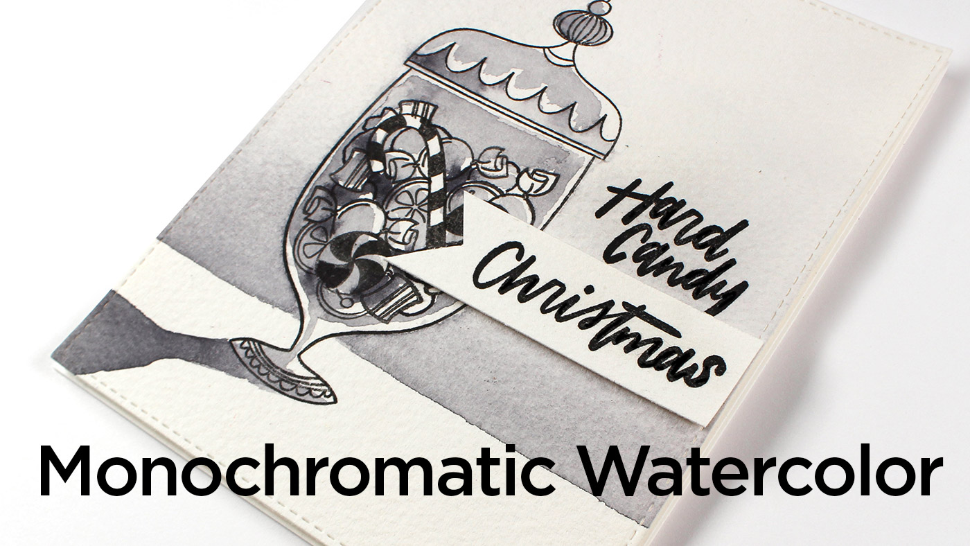 Hard Candy Christmas Card – Monochromatic Watercolor