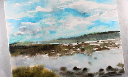 Coastal watercolor painting – with a flat brush! Westcliff-on-Sea