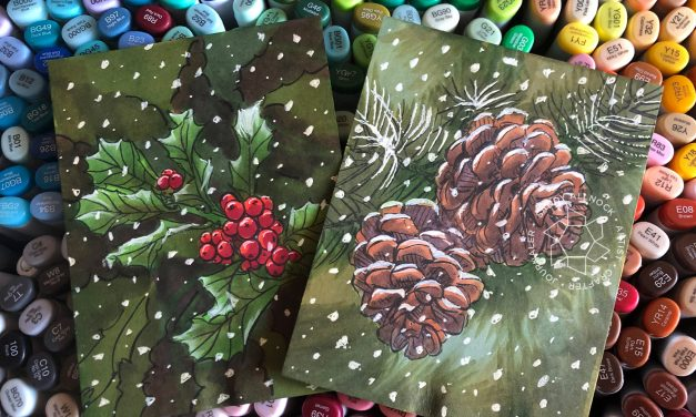 25 Creations of Christmas, Day 16: Holly and Pinecones