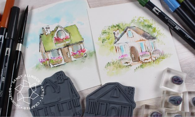 Art Impressions Stamped Watercolor: Cabins and Shops