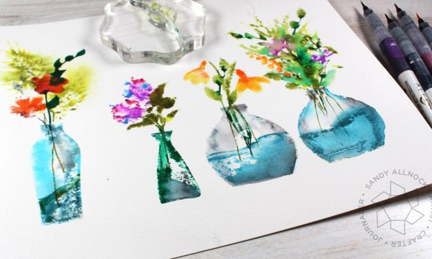 Create huge stamped watercolor flower bouquets!