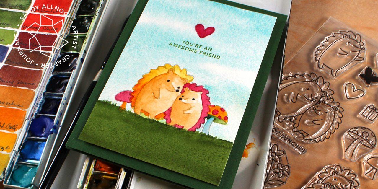 Watercolor a hedgehog card (Pretty Pink Posh bloghop)