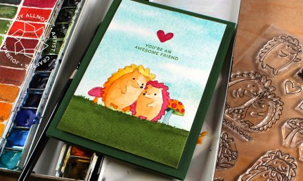 Watercolor a hedgehog card (Pretty Pink Posh bloghop)